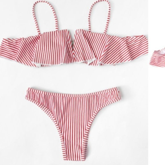 8a0299d5849ba Red Striped Off Shoulder Bikini